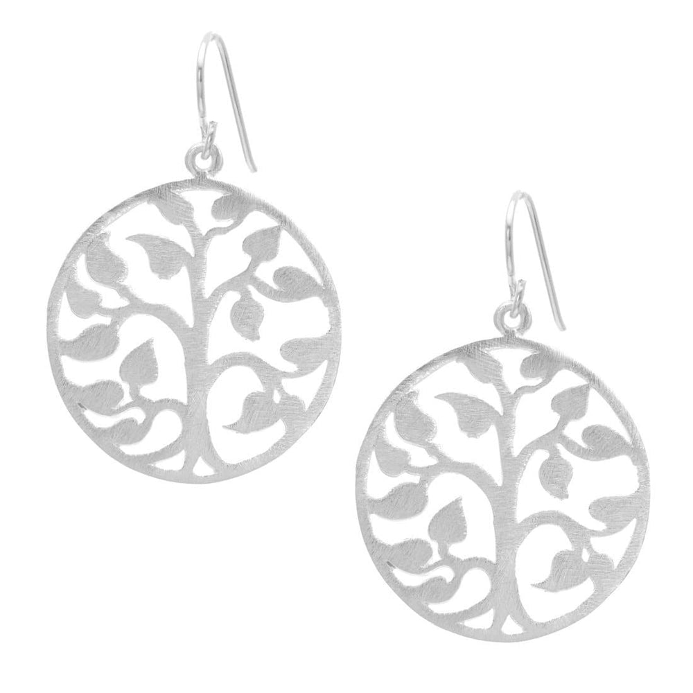 Load image into Gallery viewer, Satin Sterling Silver Filigree Tree Leaf Dangle Earrings