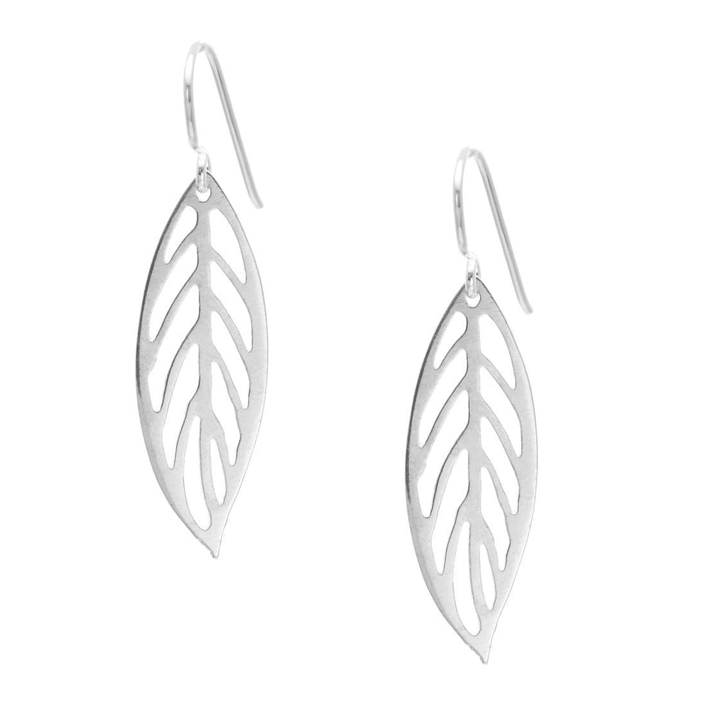 Load image into Gallery viewer, Sterling Silver Feather Leaf Dangle Earrings