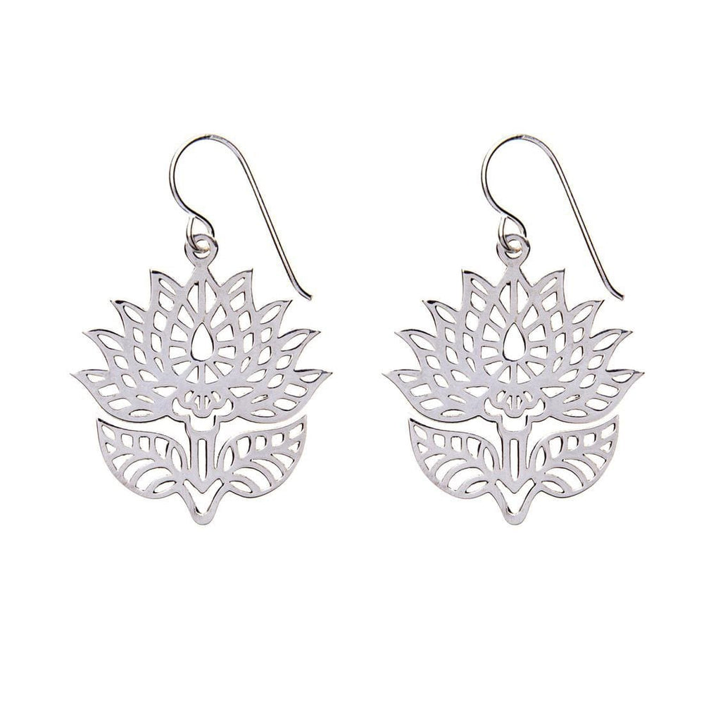 Sterling Silver Polished Cut Out Lotus Flower Dangle Earrings
