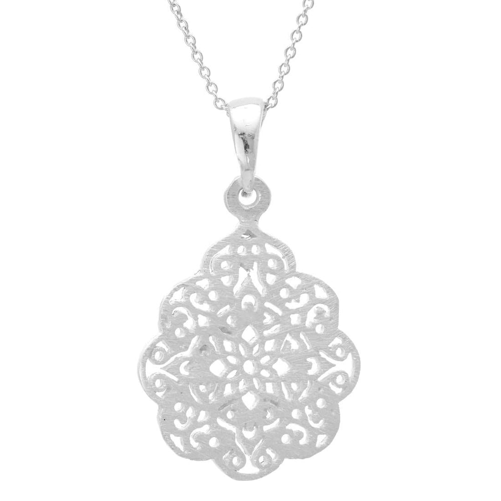 Sterling Silver Filigree Henna Pendant Necklace