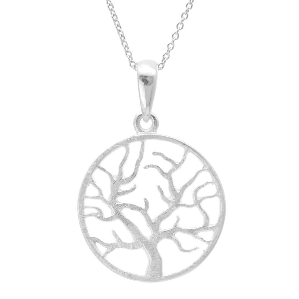 Satin Sterling Silver Tree Circle Pendant Necklace