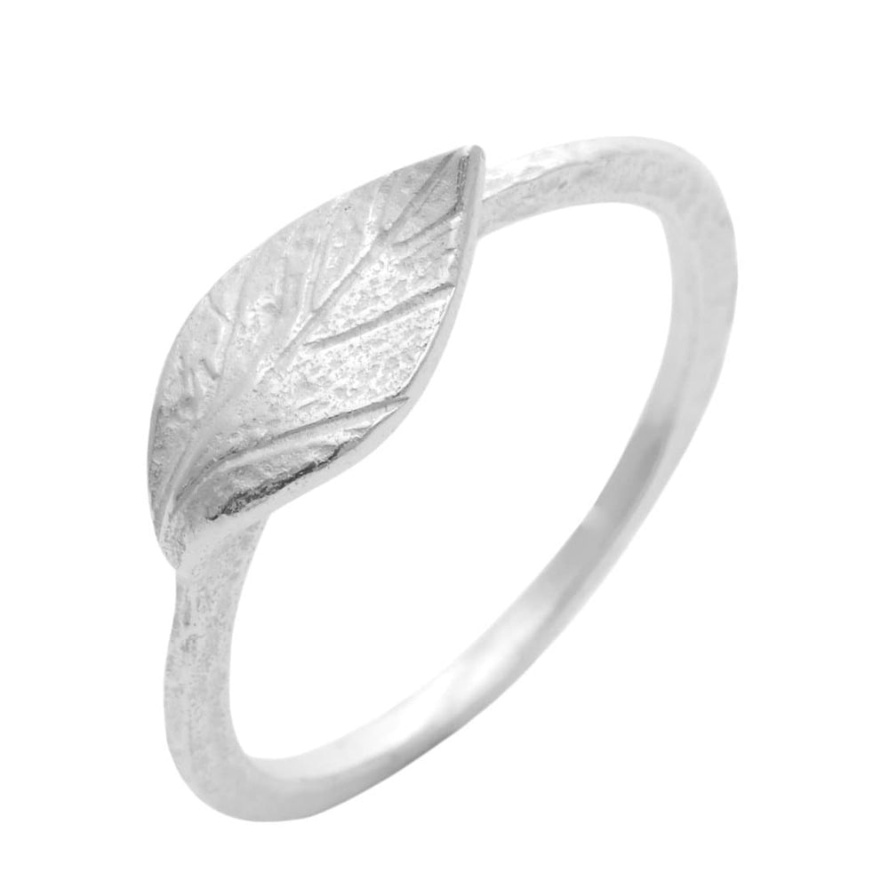 Sterling Silver Leaf Textured Satin Finish Band Ring