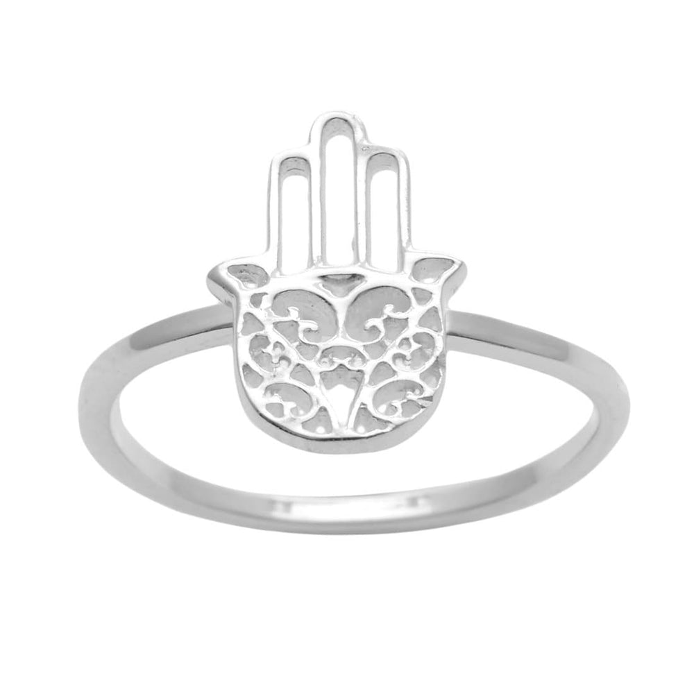 Load image into Gallery viewer, Sterling Silver Filigree Hamsa Fatima Hand Band Ring