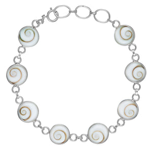 Sterling Silver Shiva Eye Shell Links Bracelet