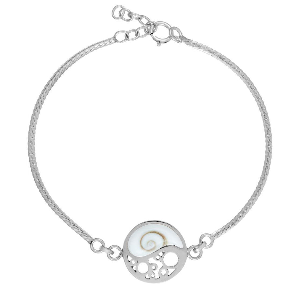 Sterling Silver Yin Yang Filigree Shiva Eye Shell Bracelet