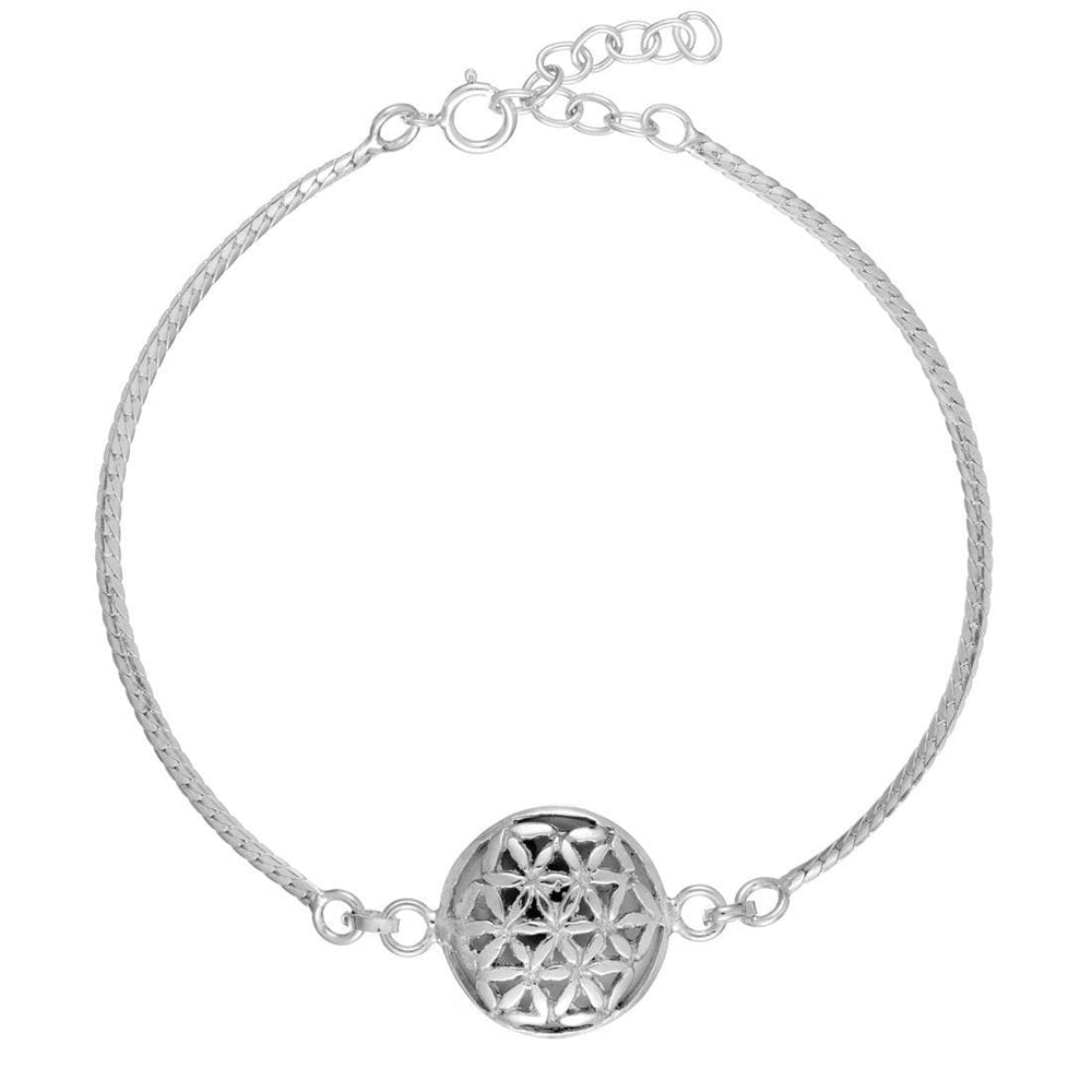 Load image into Gallery viewer, Sterling Silver Flower of Life Shiva Eye Shell Bracelet