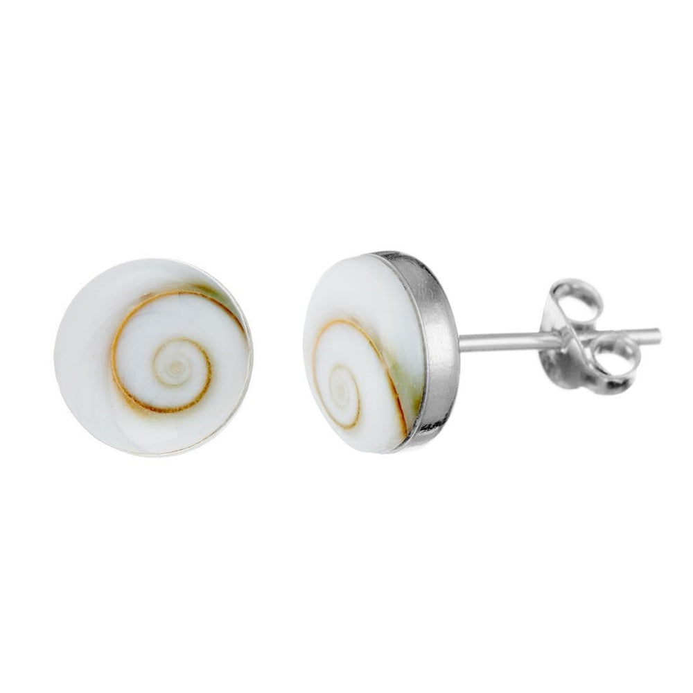 Sterling Silver Shiva Eye Shell Stud Earrings