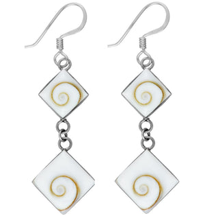 Load image into Gallery viewer, Sterling Silver Square Shiva Eye Shell Dangle Earrings