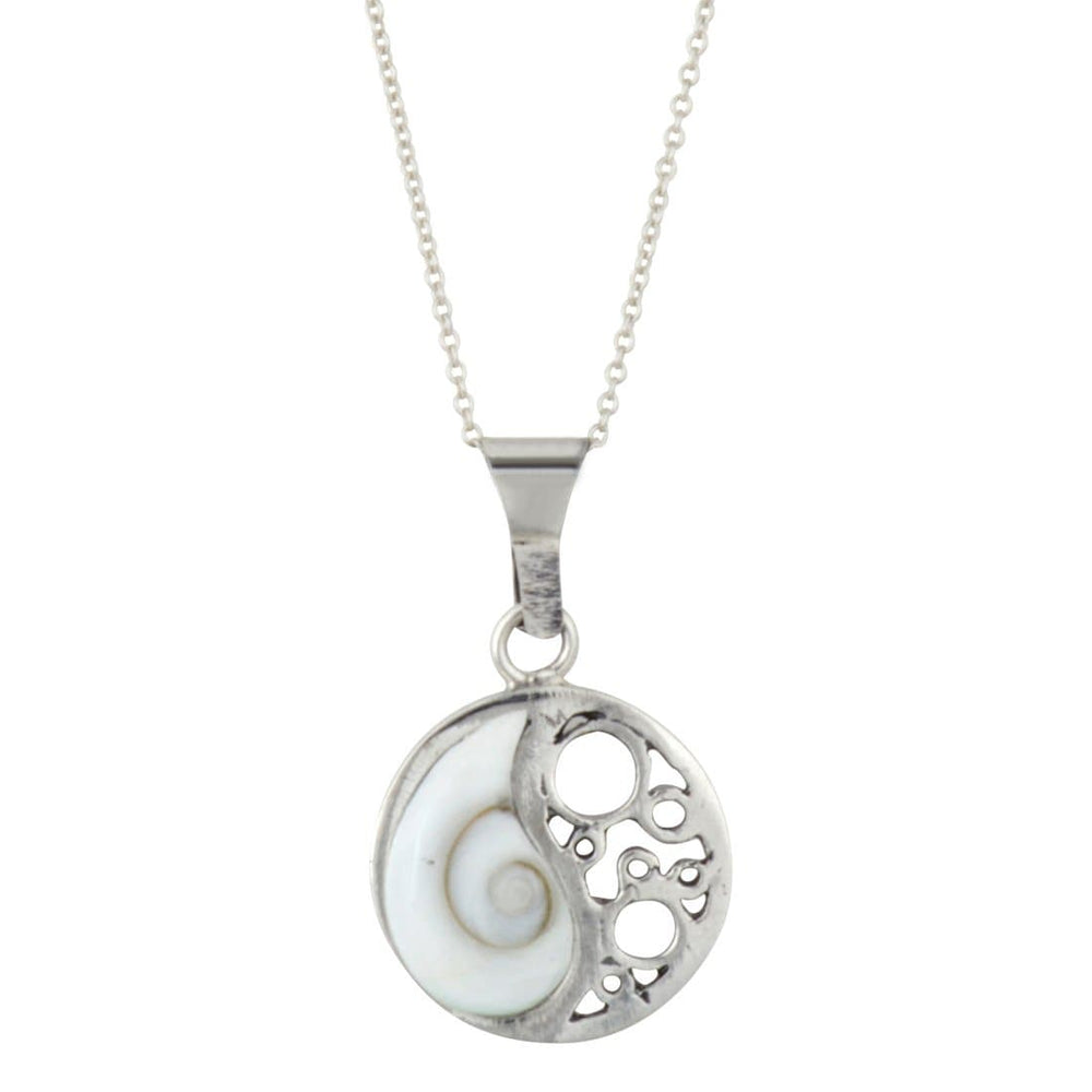 Sterling Silver White Shell Ying Yang Filigree Necklace
