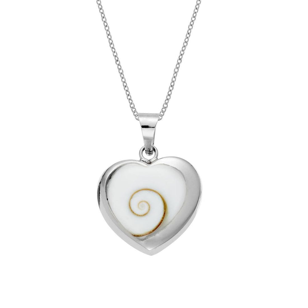 Sterling Silver Heart Shaped Shiva Eye Shell Necklace