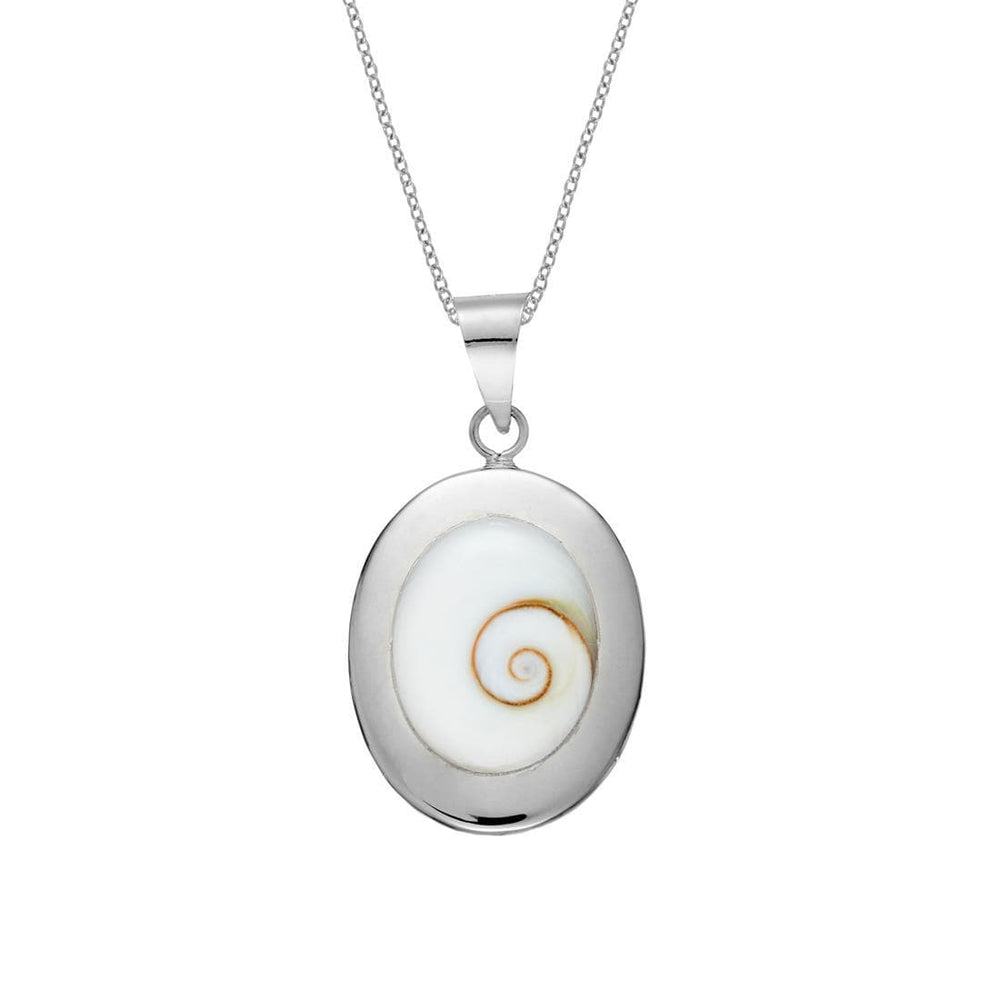 Sterling Silver Oval Set Shiva Eye Shell Necklace