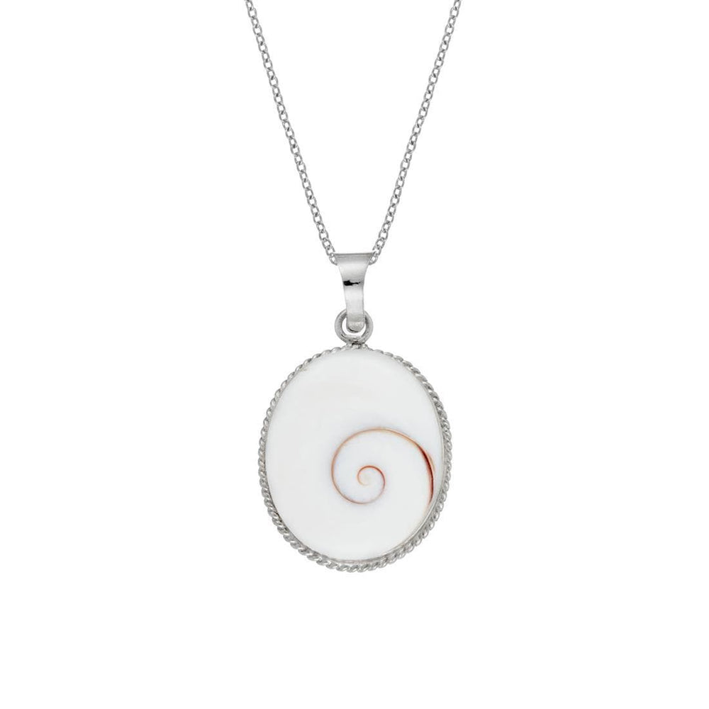 Sterling Silver Oval Shiva Eye Shell Necklace