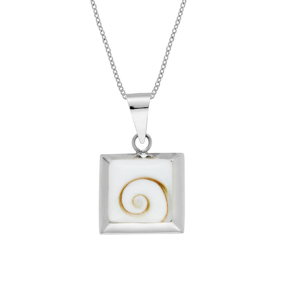 Sterling Silver Square Shiva Eye Shell Necklace