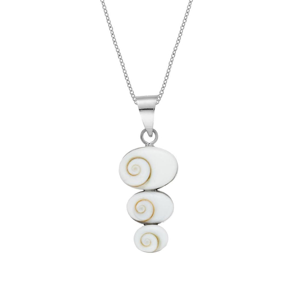 Sterling Silver Three Oval Shiva Eye Shell Necklace