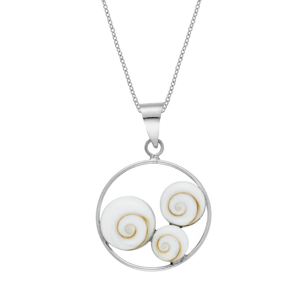 Sterling Silver Circle Three Shiva Eye Shell Necklace
