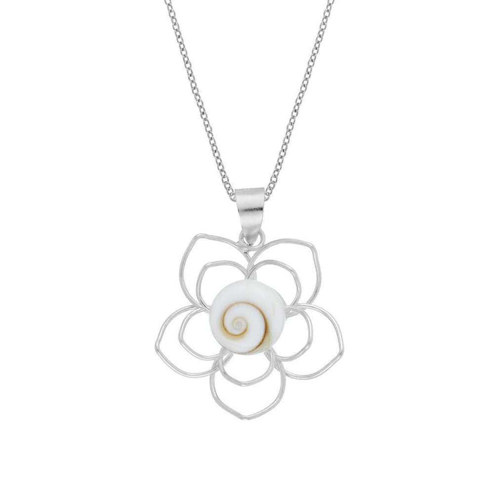 Load image into Gallery viewer, Sterling Silver Flower Shiva Eye Shell Necklace