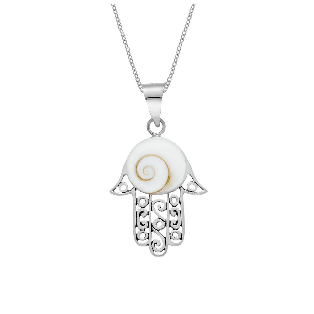 Load image into Gallery viewer, Sterling Silver Hamsa Hand Filigree Shiva Eye Shell Necklace