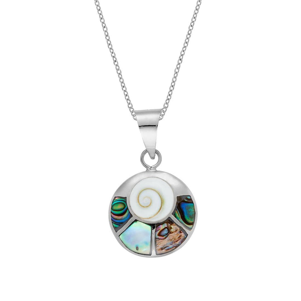 Sterling Silver Seashell Shiva Eye Abalone Necklace