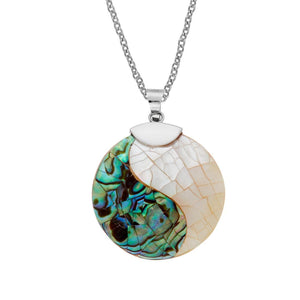 Sterling Silver Yin Yang Mother of Pearl Abalone Shell Necklace