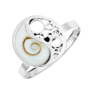 Load image into Gallery viewer, Sterling Silver Yin Yang Filigree Shiva Eye Shell Adjustable Ring