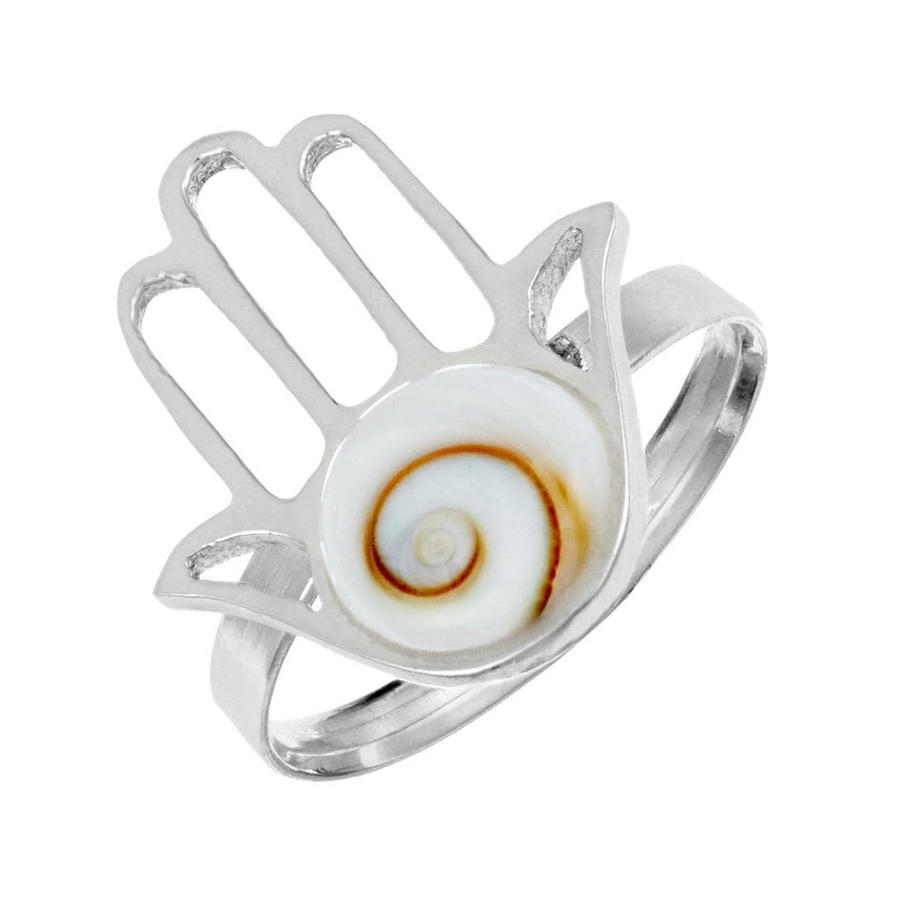 Sterling Silver Fatima Hand Shiva Eye Shell Adjustable Ring