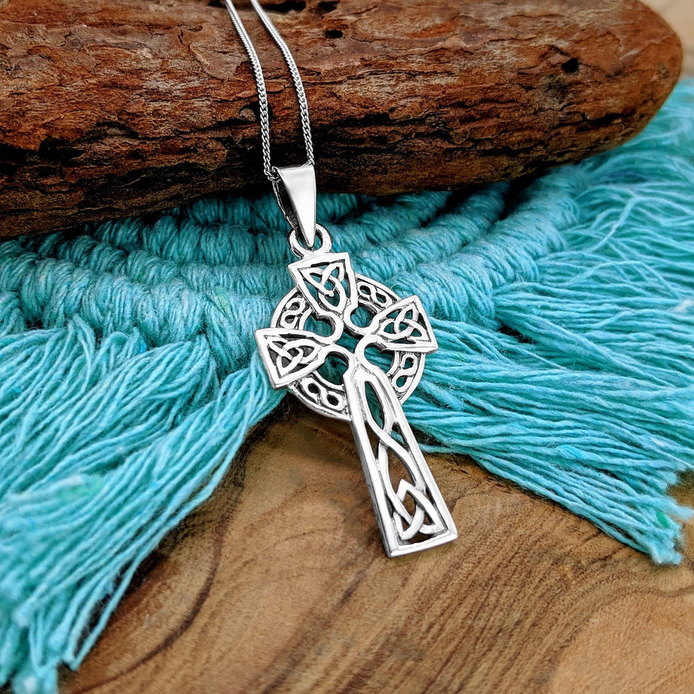 Sterling Silver Celtic Cross Pendant Necklace