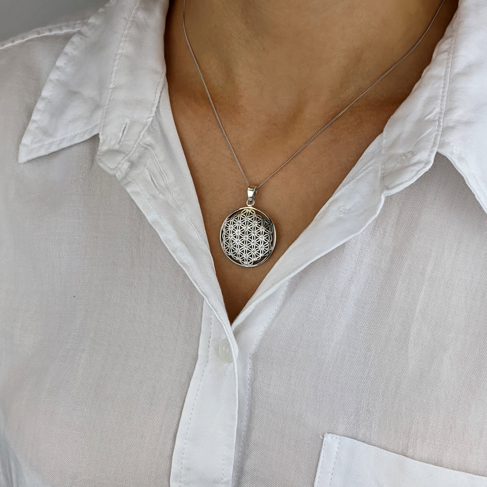 Sterling Silver Flower Of Life Sempiternal Pendant Necklace