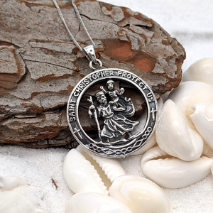 Sterling Silver St. Christopher Pendant Necklace