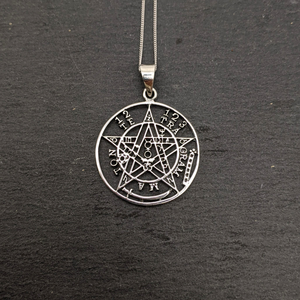 Load image into Gallery viewer, Sterling Silver Tetragrammaton Pentagram Pendant Necklace