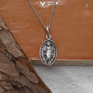 Load image into Gallery viewer, Sterling Silver Virgin Mary Pendant Necklace