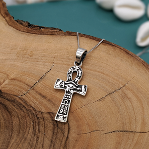 Load image into Gallery viewer, Sterling Silver Ankh & Eye of Horus Necklace