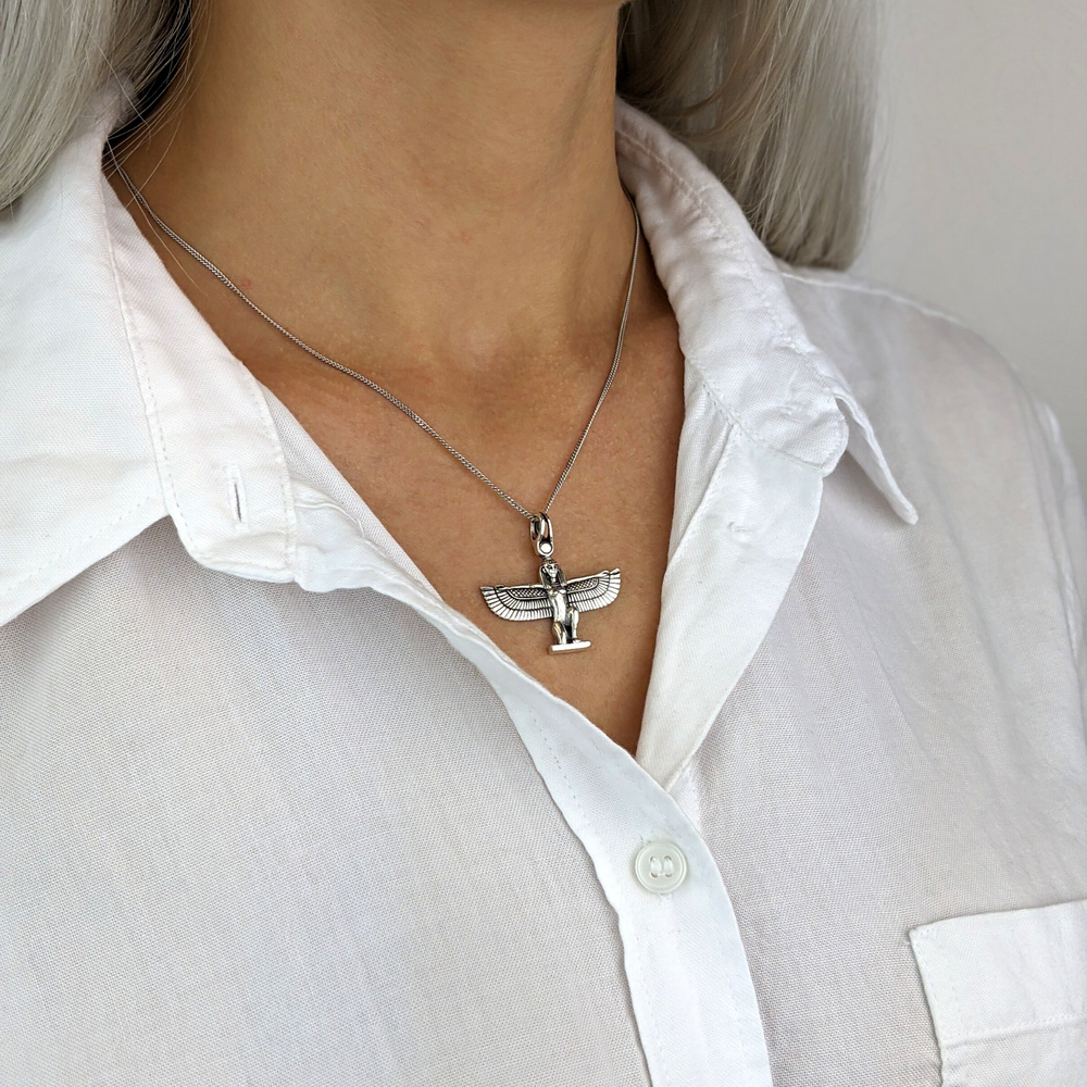 Sterling Silver Isis Goddess Pendant Necklace