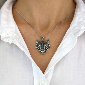 Sterling Silver Norse Wolf Fenrir Pendant Necklace