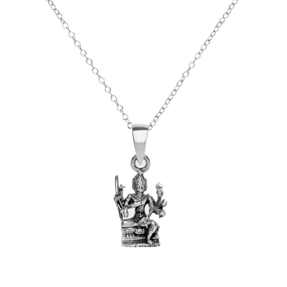 Sterling Silver Avalokitesvara Buddha Pendant Necklace - 81stgeneration