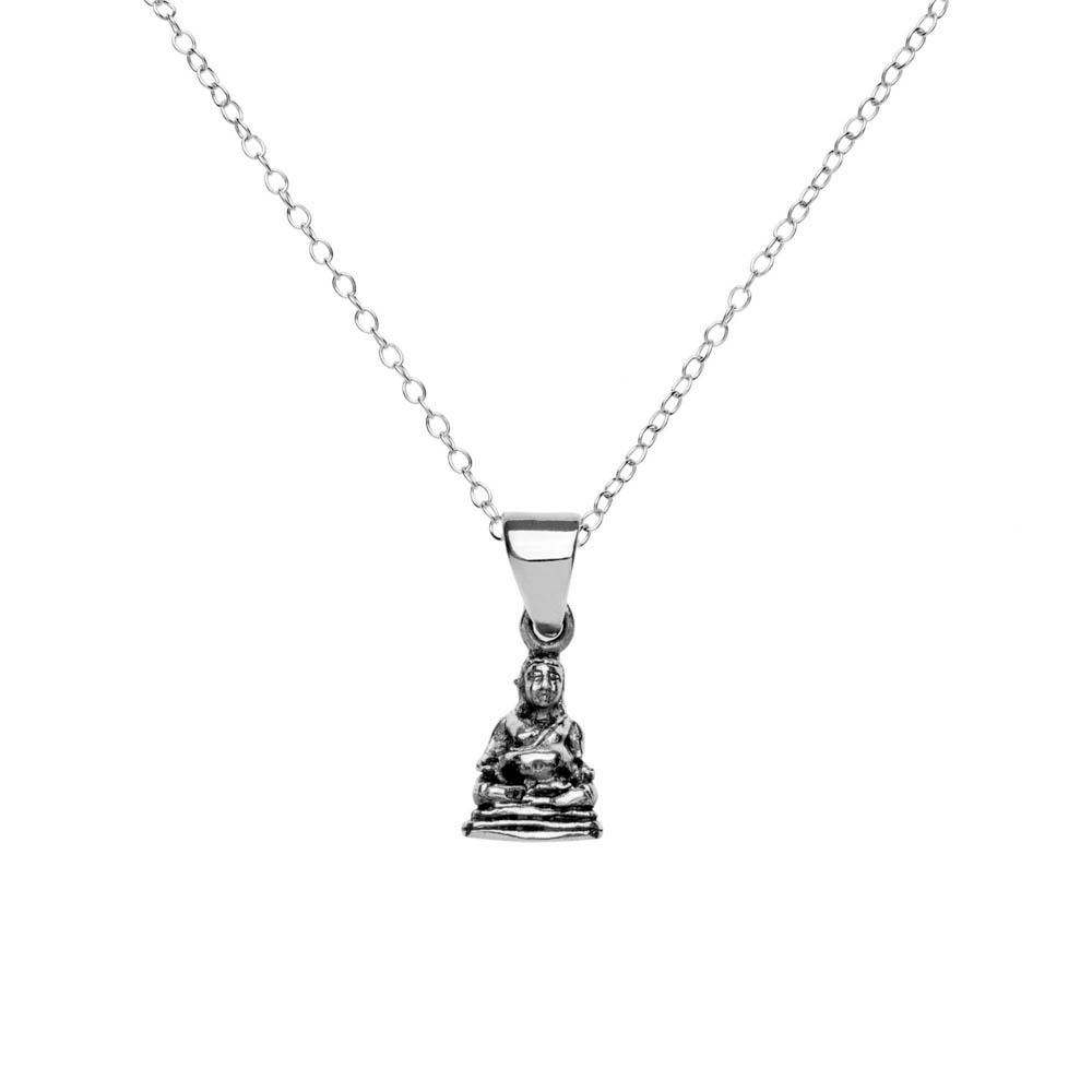 Sterling Silver Meditating Buddha Pendant Necklace
