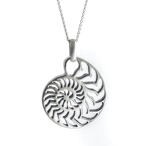 Sterling Silver Nautilus Ammonite Shell Pendant Necklace