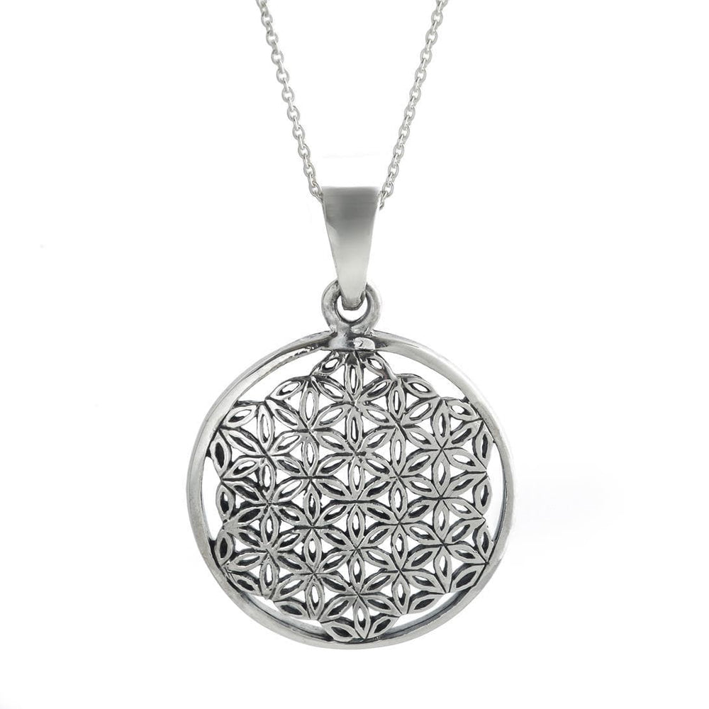 Load image into Gallery viewer, Sterling Silver Flower Of Life Sempiternal Pendant Necklace - 81stgeneration