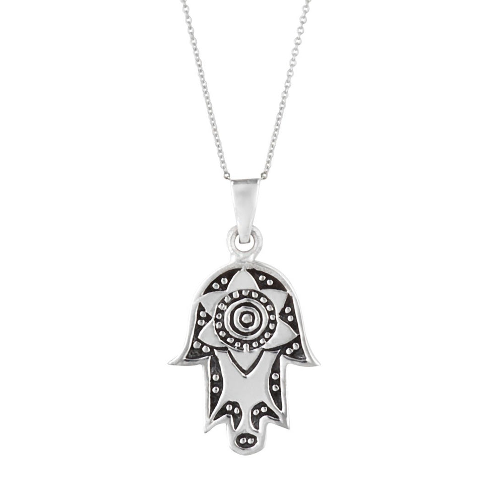 Sterling Silver Hamsa Hand Star Lotus Pendant Necklace