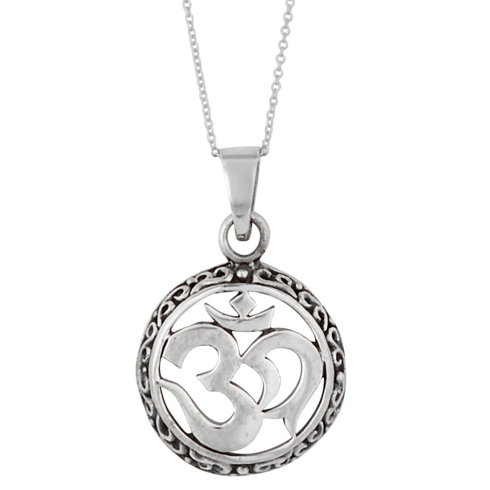 Load image into Gallery viewer, Sterling Silver Om Aum Circle Pendant Necklace