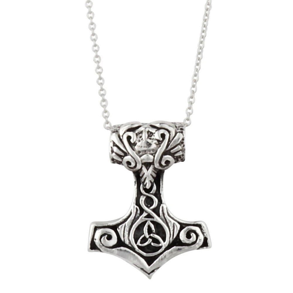 Sterling Silver Celtic Small Thor Hammer Pendant Necklace