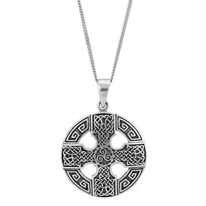 Sterling Silver Celtic Cross & Triskele Pendant Necklace