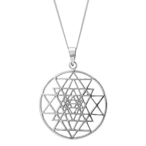 Load image into Gallery viewer, Sterling Silver Large Sri Yantra Pendant Necklace