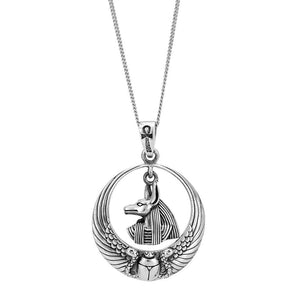 Sterling Silver Scarab Beetle & Anubis Pendant Necklace