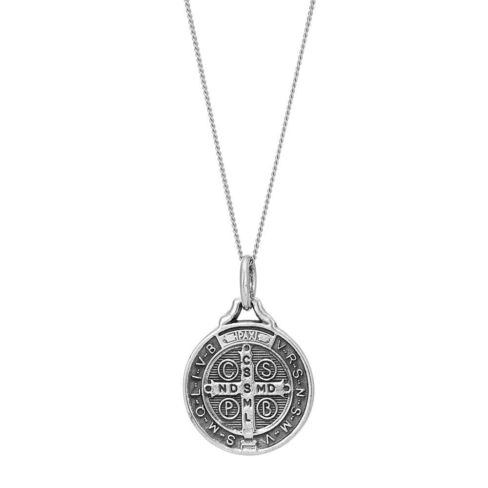 Sterling Silver St. Benedict Medal Pendant Necklace