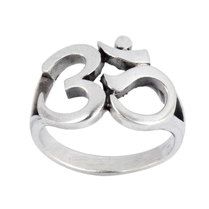 Load image into Gallery viewer, Sterling Silver Om Aum Ohm Hindu Sanskrit Ring