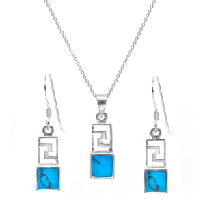Load image into Gallery viewer, Sterling Silver Turquoise Aztec Jewellery Set