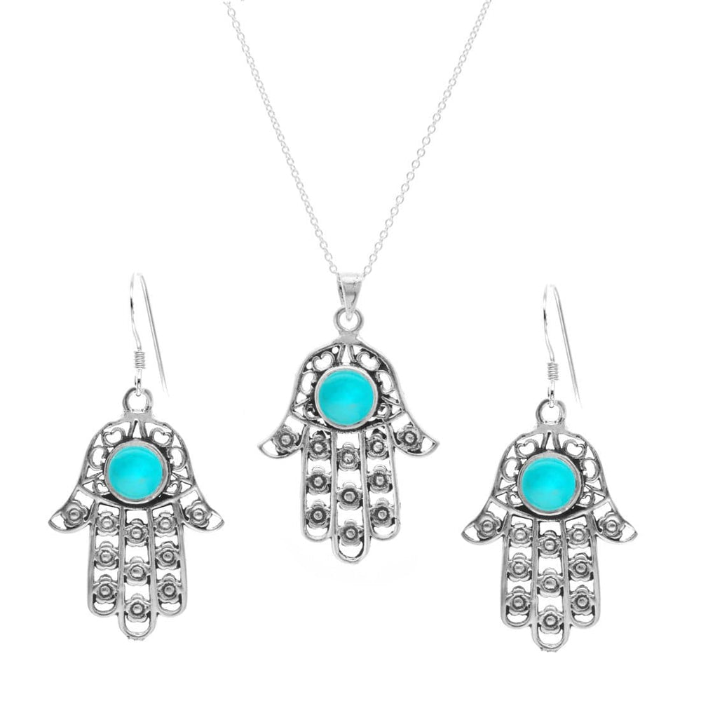 Sterling Silver Turquoise Hamsa Hand Earring Necklace Set