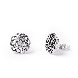 Load image into Gallery viewer, Sterling Silver Celtic Eternal Knot Shield Stud Earrings - 81stgeneration