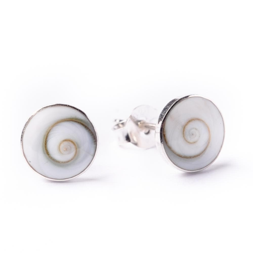 Sterling Silver Spiral Shiva Eye Shell Round Stud Earrings - 81stgeneration