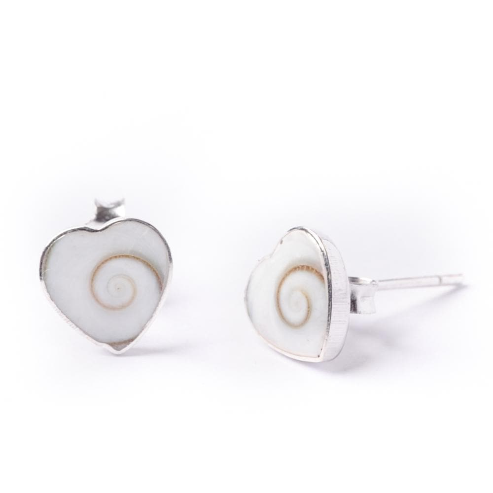 Load image into Gallery viewer, Sterling Silver Heart Shiva Eye White Shell Stud Earrings